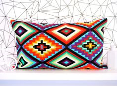 Mexican cushion cover mexican pillow aztec cushion aztec pillow neon cushion geometric tribal ethnic throw pillow decorative pillows on Etsy, $31.93