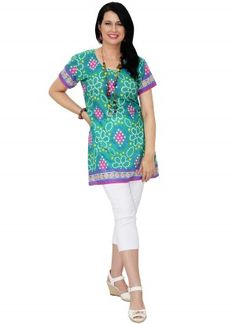 Bella Mid Length Printed Green Tunic Top  AUD $24.95
