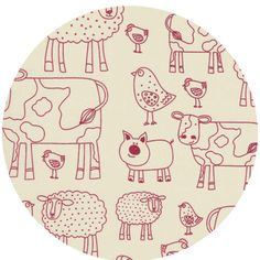barnyard animals - sweet children's fabric