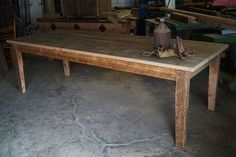 Farmhouse table with tapered legs constructed from recycled rafters.  Original rip saw marks. Price: $1,450 Raw Furniture, Rustic Furniture, Furniture Making, South Australia, Farmhouse Table, Entryway Tables, Recycling, Dining Room, The Originals