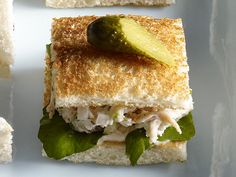 Chicken Salad Tea Sandwich from FoodNetwork.com- made this for sister n laws Baby shower and it was a HIT!!! So simple no weird stuff in it. Just got a Costco chicken and the rest is at home.. YUM Making it today just for lunch!