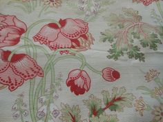 Antique French Poppy Foxglove Floral Cotton Fabric ~ Pink Red Lavender Yellow
