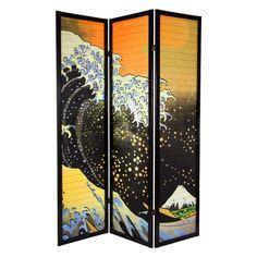 Oriental Furniture 3 Panel Japanese Wave Shoji Room Divider - SS-WAVE-3P