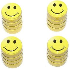 "Amazon.com : (4 Count) Cool and Custom ""Diamond Etching Smiley Face Top with Easy Grip Texture"" Tire Wheel Rim Air Valve Stem Dust Cap Seal Made of Genuine Anodized Aluminum Metal {Light BMW Yellow and Black Colors - Hard Metal Internal Threads for Easy Application - Rust Proof - Fits For Most Cars, Trucks, SUV, RV, ATV, UTV, Motorcycle, Bicycles} : Sports & Outdoors"