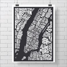New York Map Print / Manhattan Map - Custom NYC Typography Map with Neighborhoods and Landmarks, Various Colors, Type Map Art Print Poster