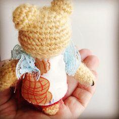I'm small enough to sit on your palm... #handcrafted #handicraft #handmade #crochetbear #crochet #teddybears #dogorbear