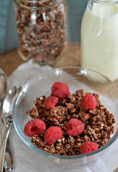 Chocolate Granola is naturally sweetened with honey and uses gluten free oats. It's guiltless and delicious with Greek yogurt + berries.  |mountainmamacooks.com