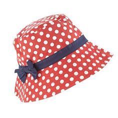Girls red spotted sun hat