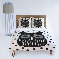 Garima Dhawan Vintage Black Owl Duvet Cover/DENY