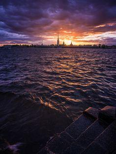 Sunset in Neva river, Saint-Petersburg, Russia by Sergey Bogomyako - Photo 111180941 - 500px