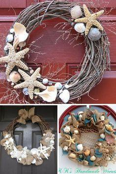 Coronas decoradas con caracolas y conchas