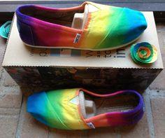 Women's Custom TOMS Rainbow Tie Dye Shoes by on Etsy from on Etsy. Saved to shoes. Tie Dye Shoes, How To Dye Shoes, Dyed Shoes, Flip Flop Shoes, Slip On Shoes, Flip Flops, Painted Toms, Rainbow Shoes, Colorful Shoes