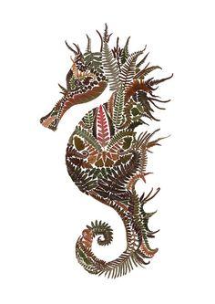 Pressed Fern Spiny Seahorse  Limited Edition A3 by HelenAhpornsiri
