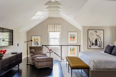 Brookline Carriage House- Elms Interior Design - Master Bedroom - Amazing Artwork collection