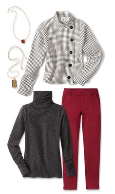 Check out five unique ways to mix and match the Windowpane Jacket with other cabi items!