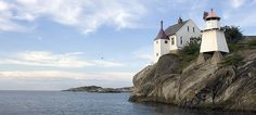 Ryvingen Lighthouse is located on a small island outside Grimstad in Southern Norway