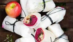 Beetroot, apple and goat's cheese wraps by David Frenkiel and Luise Vindahl Andersen from The Green Kitchen Crepes, Cheese Wrap, Sbs Food, Green Kitchen, Beetroot, Goat Milk, Goat Cheese, Tortillas, Superfoods