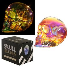 Large Decorative LED Light - Metallic Iridescent Skull  Add colour and style to your home with our range of LED lights.  Complete with LED lights that require 3 AAA batteries (not included), these decorations are perfect for adding that magical touch to your home, garden or special event.