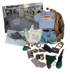 """""""fishermen laundrettes"""" by pablos-watching ❤ liked on Polyvore featuring Retrò, WALL, Elements, Maria La Rosa, Lomography, Sennheiser, H&M and Dr. Martens"""