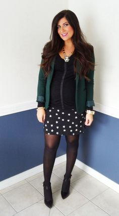 Blazer and star skirt.  #maternityfashion #maternitystyle #34weeks