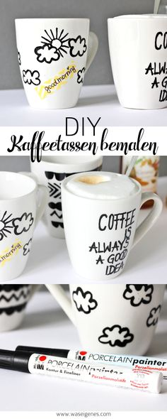 Kaffeetassen bemalen & beschriften mit Porcellain Painter | Coffee is always a good idea