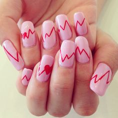 Customer #nails like an #electrocardiogram #nailart .@yulily314 (Yuri) 's Instagram photos | Webstagram - the best Instagram viewer