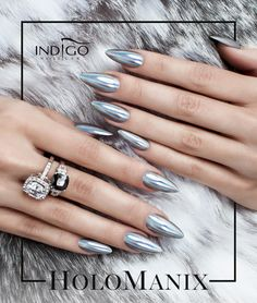 HoloManix❤️❤️ by Katarzyna Wojtczak, Indigo Team Łódź #nails #nail #holomanix #effect #holo #silver #chrome #mirror #hot #trendy
