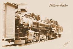 Dampfzug der Zillertal Bahn. Eisenbahn, Zillertal, Tirol, sepia,  'Dampflok' von hako bei artflakes.com als Poster oder Kunstdruck $16.63, (c) HaKo - Photo