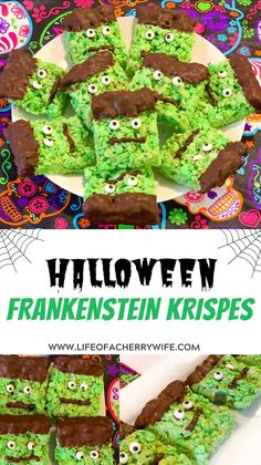 Halloween Frankenstein Krispie treats are a festive, spooky easy, no bake option for parties or to share with your family! #halloween #treats
