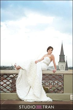 french quarter new orleans bridal formal photos portraits Omni rooftop lobby - Studio Tran Photographers