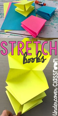 You can make a book that stretches from three pieces of square paper.  My students love these! Here's a photo-packed tutorial to get you started.