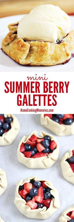 Grab some summer berries to make this easy dessert! These individual sized Mini Summer Berry Galettes are strawberries & blueberries baked in a pie crust. SO DELICIOUS!