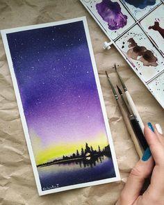 Слушаю Ханса Циммера и рисую северную ночь в миниатюре   my drawings ➡️ #golovkot_art     Кстати, эту малютку я подарю кому-нибудь из желающих в это воскресенье. Если интересно, подробности в группе (ссылка в профиле). #рисуюкаждыйдень #миссия366