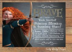 Disney Brave Merida Chalkboard Birthday by TwirlyDesigns on Etsy