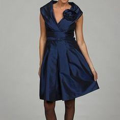 JS Boutique Women's Navy Taffeta Belted Dress $53.99