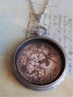 Steampunk dragonfly pocketwatch necklace.