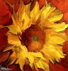 Bring on the Heat Sunflower - Flower Painting by Nancy Medina, 8X18, oil http://nancymedina.fineartstudioonline.com/workszoom/1407477