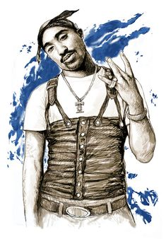 Tupac Shakur Colour Drawing Art Poster By Kim Wang Color Drawing Art Tupac Art Art Drawings