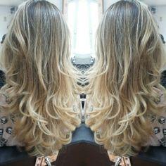 Mechas ombre hair douradas e tratamento Loreal para efeito luminoso!