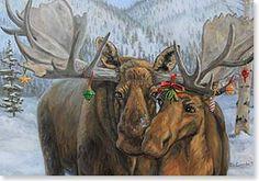 Joy Campbell   OIL   Merry Chrismoose!