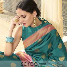 STAND UP BLOUSE DESIGN Saree Blouse Designs, Blouse Patterns, Blue Art, Teal Blue, Lehenga Choli Online, Art Silk Sarees, Exclusive Collection, Blouses, Beauty