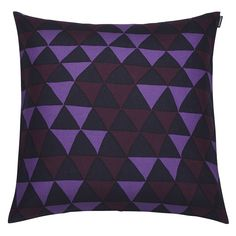 Gorgeous Hippa cushion in purple hues from marimekko, melodic triangles in hues of purple and aubergine for a fun yet sophisticated take on the ever popular Scandinavian style of geometrics, we love them.