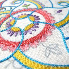 embroidered kaleidoscope paisley design