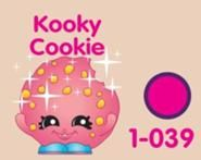 Kooky Cookie (Shopkins 1-039, 1-046) Kooky Cookie is a pink butterscotch chip cookie with blue shoes. Her variant is a chocolate chip cookie with green shoes. Kooky Cookie is an ultra rare Bakery Shopkin from Season One.
