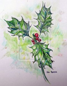Holly and Berries by GeaAusten.deviantart.com on @deviantART