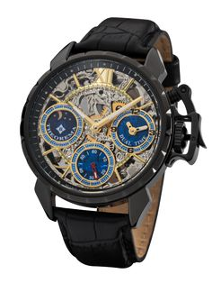 """The style on the Made in Germany Dual-Time """"Oman"""" Theorema lets your creativity run wild. This timepiece was designed specifically for the sophisticated trendy Oslo S, World War Two, Cow Leather, Timeless Fashion, Watches For Men, Men's Watches, Skeleton, Gentleman, Germany"""