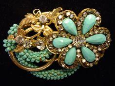Vintage Miriam Haskell Turquoise Bead Rhinestone Flower Brooch