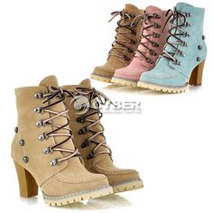 Design Women's Ankle High Heel Boots Lace Up Shoes