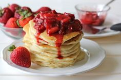 Buttermilk Pancakes with Strawberry Sauce - Damn Delicious