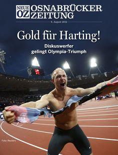 Das Titelthema der App für Mittwoch, 8. August: Der grandiose Sieg von Robert Harting im Diskuswerfen bei #Olympia.